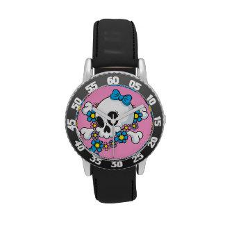 Cráneo del flower power relojes de pulsera