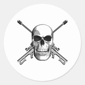 Cráneo del francotirador pegatina redonda