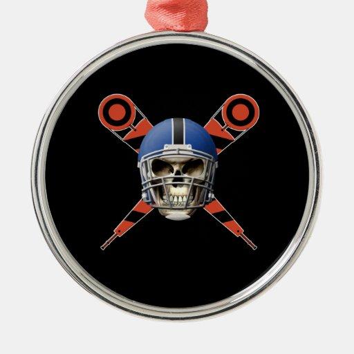 Cráneo del fútbol con los marcadores del casco y d ornatos