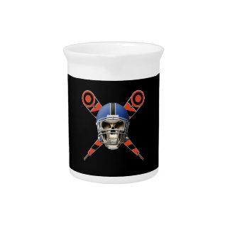 Cráneo del fútbol con los marcadores del casco y d jarrón