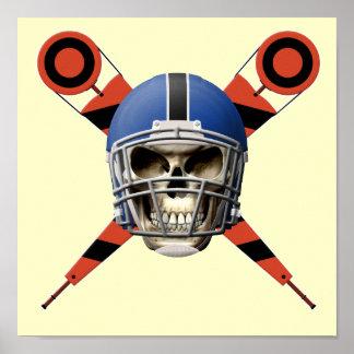 Cráneo del fútbol con los marcadores del casco y d impresiones