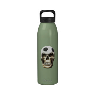 Cráneo del fútbol (fútbol) botellas de beber