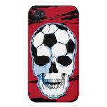 Cráneo del fútbol iPhone 4 cárcasas