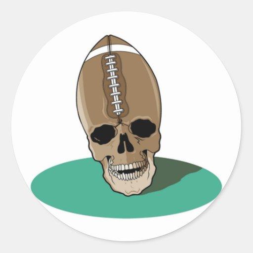 Cráneo del fútbol pegatina redonda