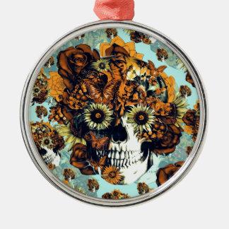 Cráneo del girasol en azul y anaranjado adorno navideño redondo de metal