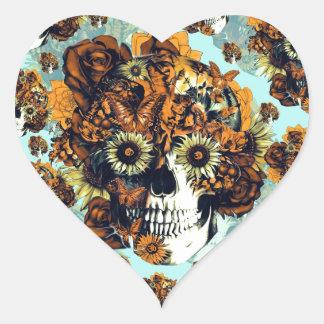 Cráneo del girasol en azul y anaranjado pegatina en forma de corazón