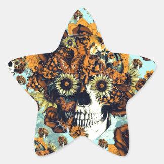 Cráneo del girasol en azul y anaranjado pegatina en forma de estrella
