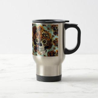 Cráneo del girasol en azul y anaranjado tazas de café
