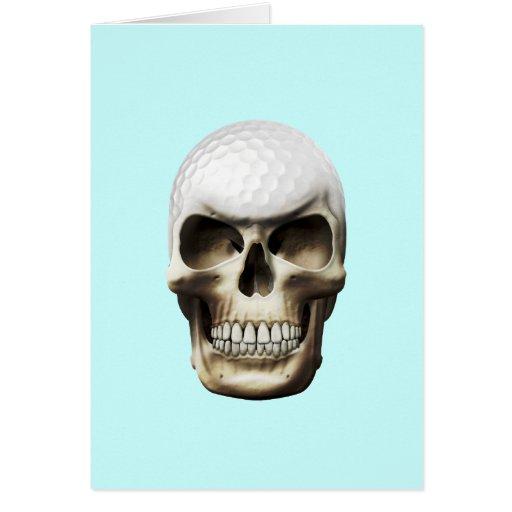 Cráneo del golf tarjeta de felicitación