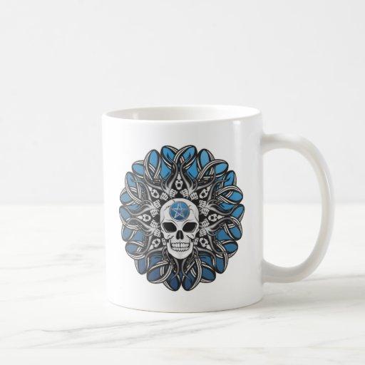 Cráneo del gótico - azul taza de café