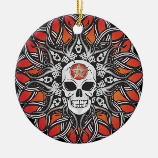 Cráneo del gótico - naranja ornamentos para reyes magos