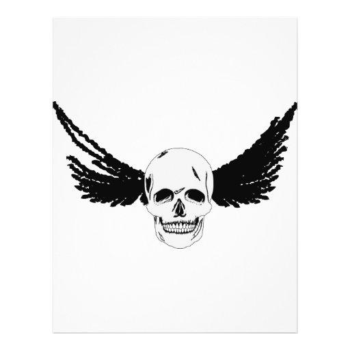Cráneo del Grunge con las alas Tarjetas Informativas