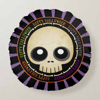 Cráneo del Grunge del feliz Halloween y almohada Cojín Redondo