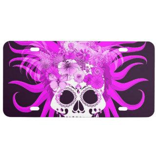 cráneo del hippie, rosado placa de matrícula
