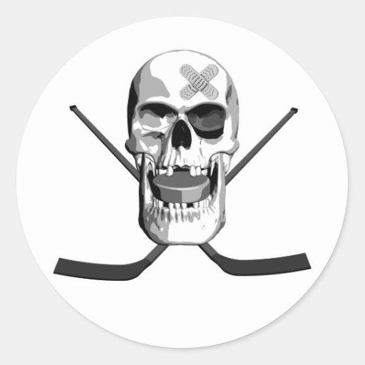 Cráneo del hockey pegatina redonda