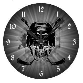 Cráneo del hockey reloj redondo grande