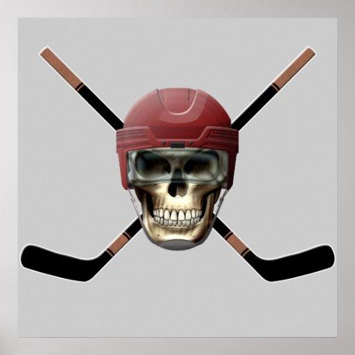 Cráneo del hockey y palillos cruzados impresiones