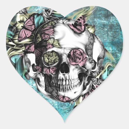 Cráneo del humo de la mariposa en rosa, amarillo y calcomanía de corazón