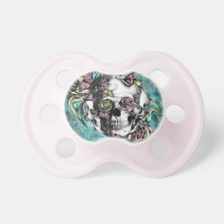 Cráneo del humo de la mariposa en rosado y amarill chupete de bebé