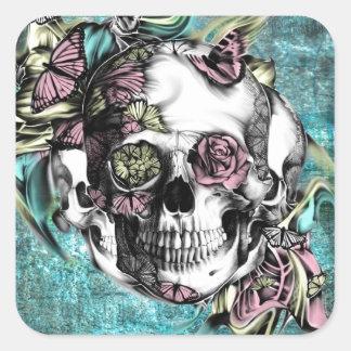 Cráneo del humo de la mariposa en rosado y calcomania cuadradas
