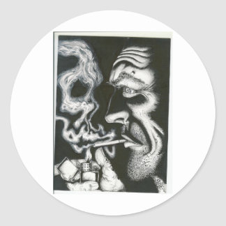 cráneo del humo etiqueta redonda