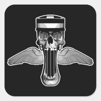 Cráneo del Jailbird Pegatina Cuadrada