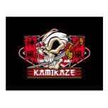Cráneo del kamikaze con la espada japonesa tarjetas postales