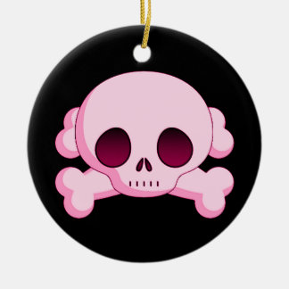 Cráneo del KRW y ornamento rosados de la bandera Adorno Redondo De Cerámica