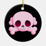 Cráneo del KRW y ornamento rosados de la bandera p Ornamentos De Reyes