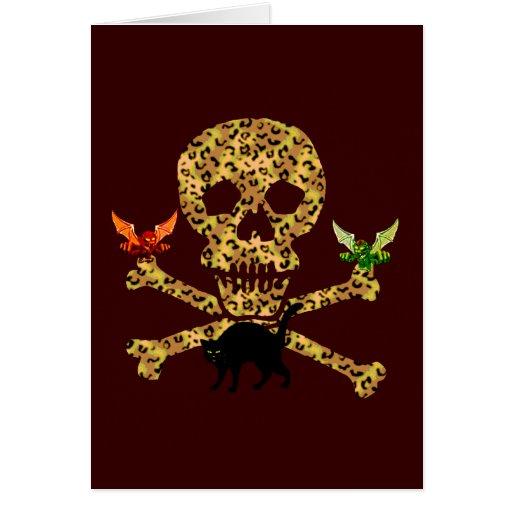 Cráneo del leopardo de Halloween Tarjeta Pequeña