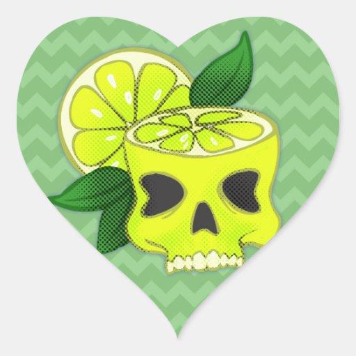 Cráneo del limón colcomanias de corazon personalizadas