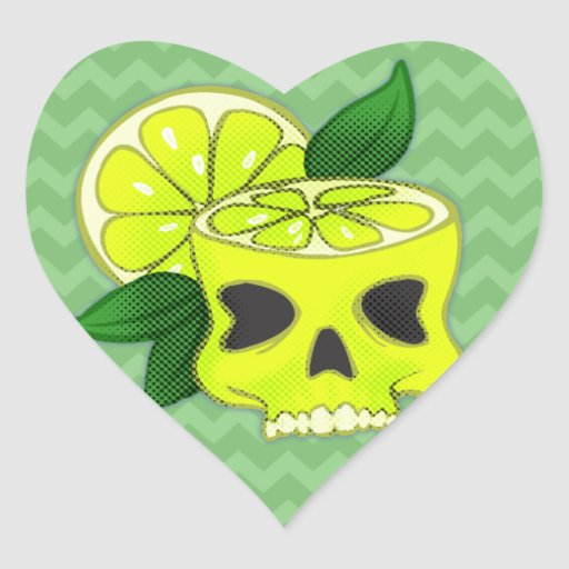 Cráneo del limón pegatina en forma de corazón