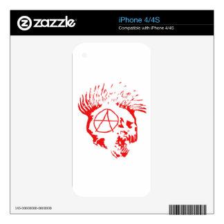 Cráneo del Mohawk de la anarquía iPhone 4S Calcomanía