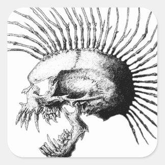Cráneo del Mohawk Pegatina Cuadrada