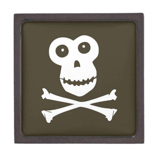 Cráneo del mono caja de recuerdo de calidad