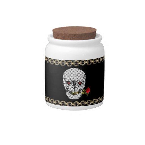 Cráneo del muchacho del amante platos para caramelos