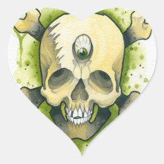 cráneo del mutante pegatina corazón personalizadas