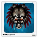 Cráneo del nativo americano con el lobo del albañi