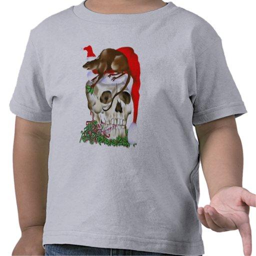 Cráneo del navidad y camiseta feliz de la rata