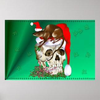 Cráneo del navidad y poster feliz de la rata