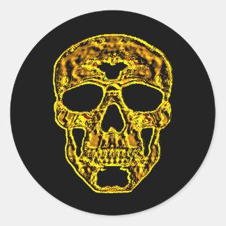 cráneo del oro 3D Etiqueta Redonda
