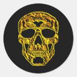 cráneo del oro 3D Pegatina Redonda