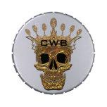 Cráneo del oro del monograma jarrones de dulces
