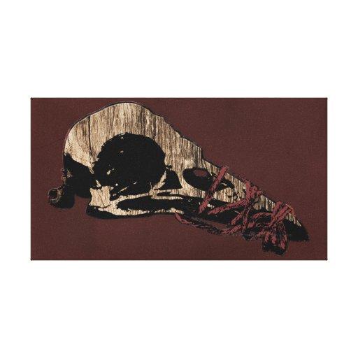 Cráneo del pájaro impresión en lienzo