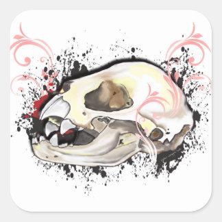 Cráneo del palo de vampiro pegatina cuadrada