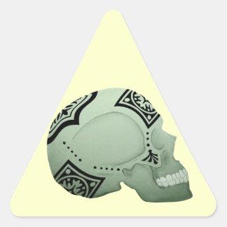 Cráneo del pañuelo - arte esquelético pegatina triangular