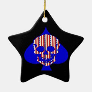 Cráneo del patriota adorno de cerámica en forma de estrella