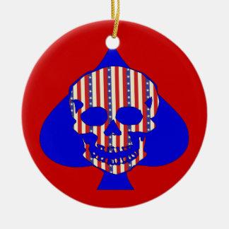 Cráneo del patriota adorno redondo de cerámica