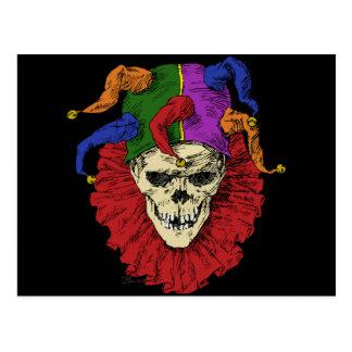 Cráneo del payaso del bufón de la muerte postal