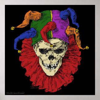 Cráneo del payaso del bufón de la muerte póster